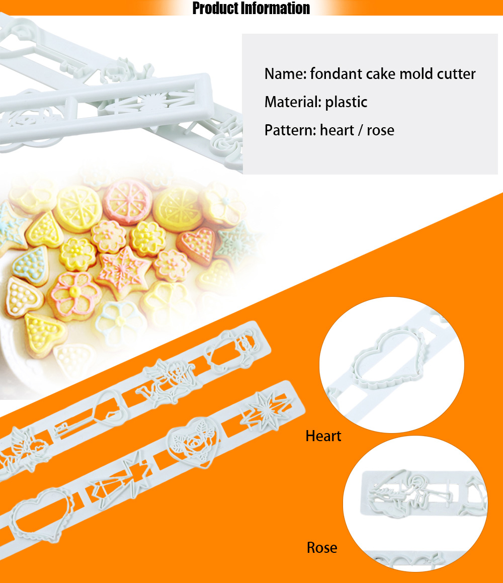 2pcs Fondant Love Heart Cake Mold Decorating Cutter