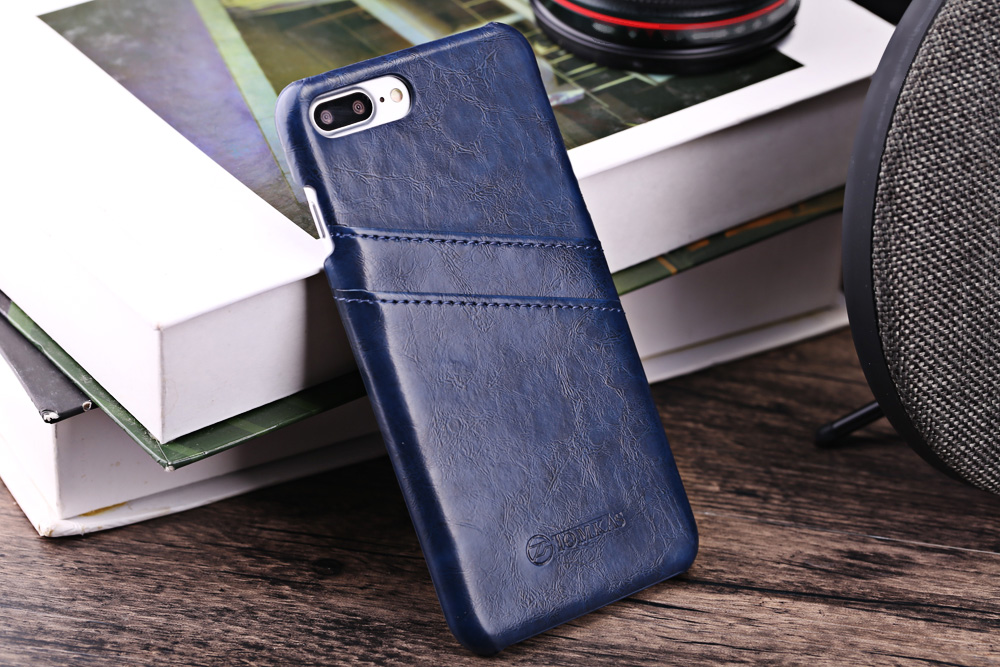 TOMKAS Oil Wax PU Leather Back Cover with Card Holder Function for iPhone 7 Plus
