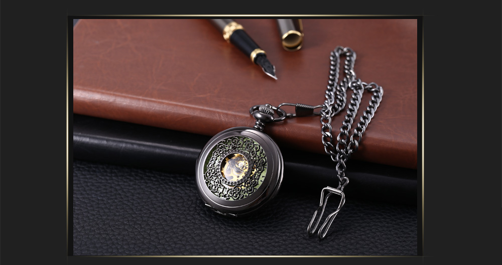 Antique Mechanical Hand Wind Pocket Watch Floral Pattern Hollow-out Cover Luminous Wristwatch