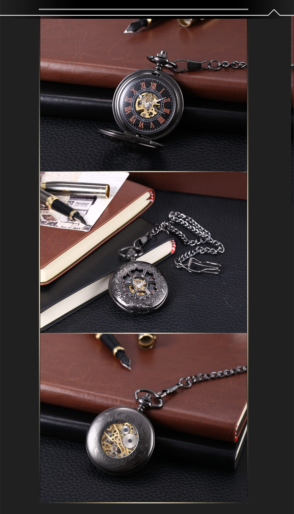 PC38 Retro Mechanical Hand Wind Pocket Watch Floral Pattern Hollow-out Cover Wristwatch