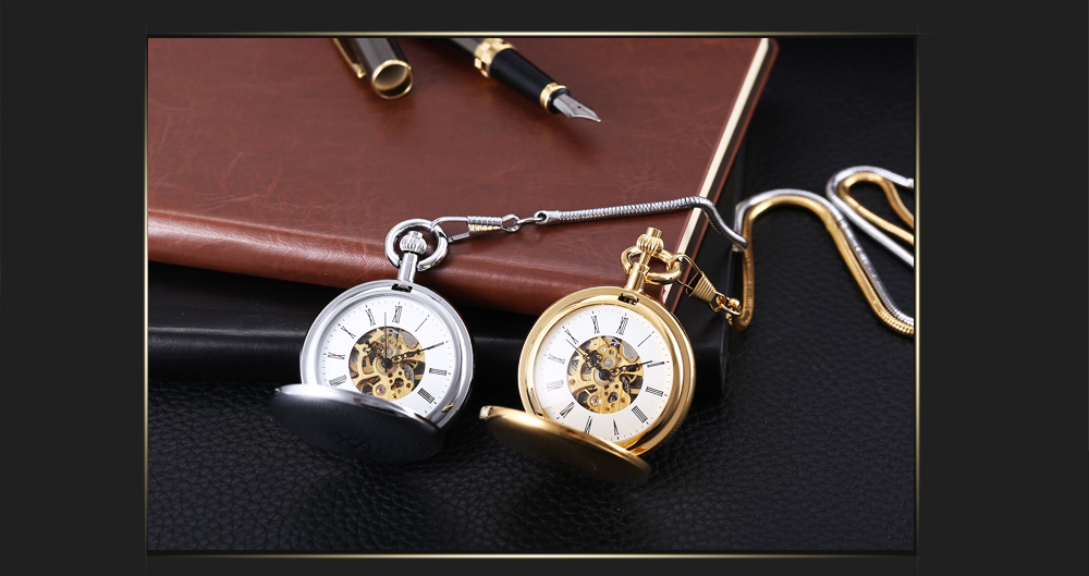 PC64 Retro Mechanical Hand Wind Fob Watch Roman Numerals Scale Dual Covers Wristwatch
