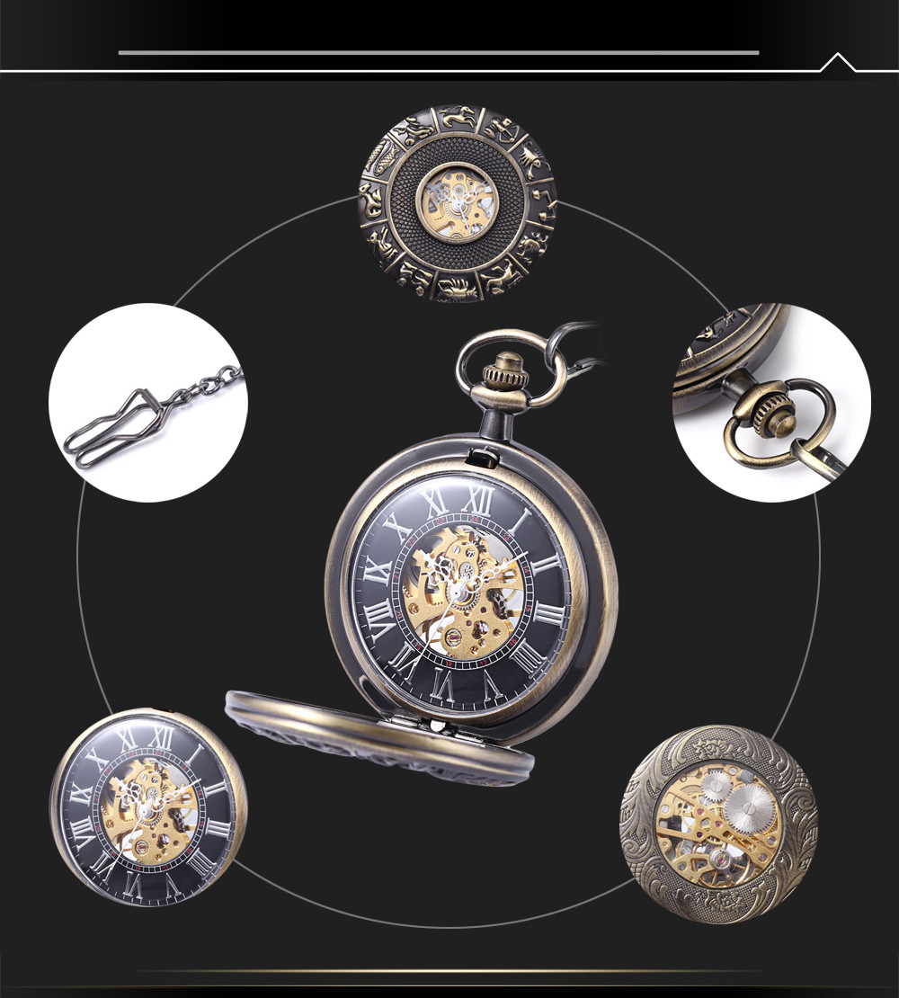 Retro Mechanical Hand Wind Pocket Watch Constellation Pattern Hollow-out Cover Wristwatch