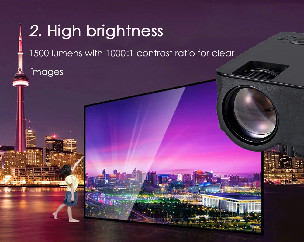 RUISHIDA M1 Mini 1500 Lumens 800 x 480 Pixels Projector with VGA HDMI USB SD Card Slot for Home Office Education