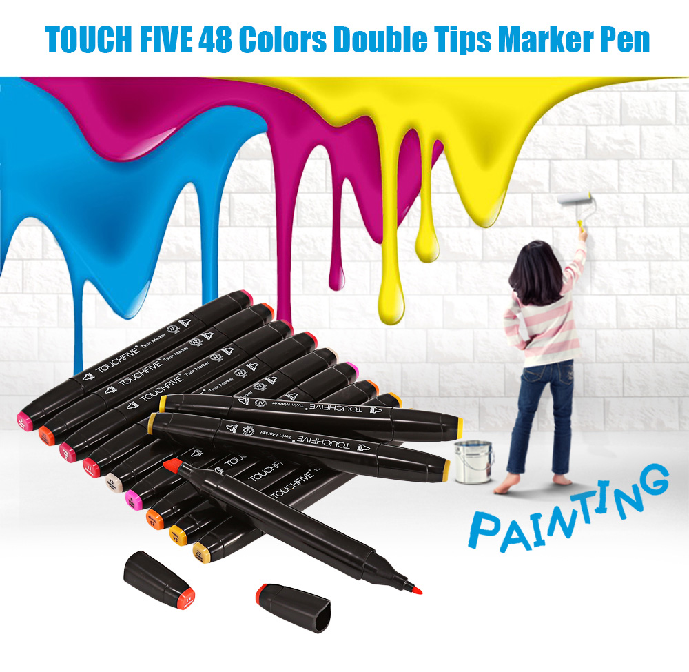 TOUCH FIVE 48 Colors Double Head Marker Pen Kit for Office Use