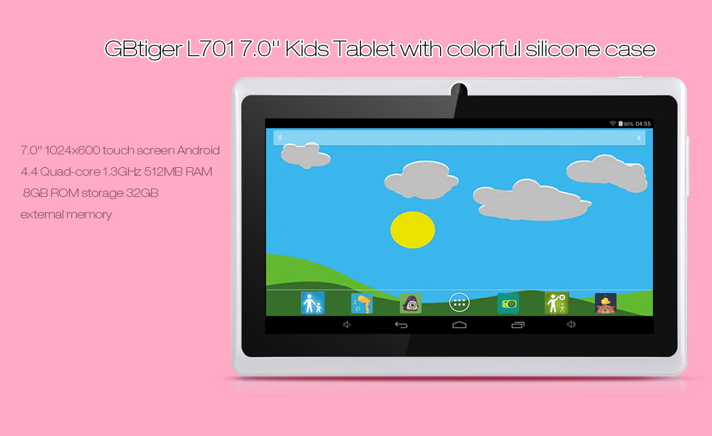 GBtiger L701 Android 4.4 7.0 inch Kids Tablet PC Quad Core 1.3GHz 512MB RAM 8GB ROM WiFi Bluetooth Functions ( US Plug )