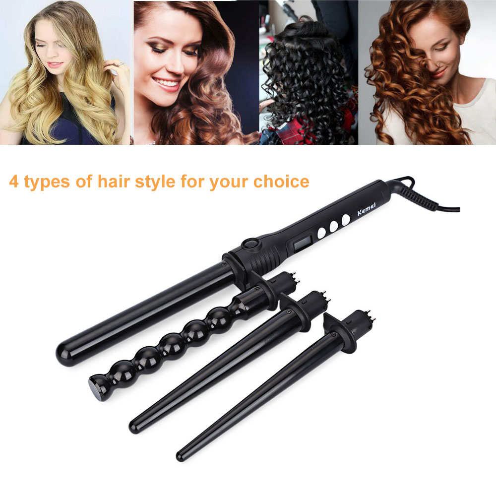 Kemei KM - 4083 4 in 1 Makeup Hair Curler Roller Removable Curling Iron Conical Curling Wand Set