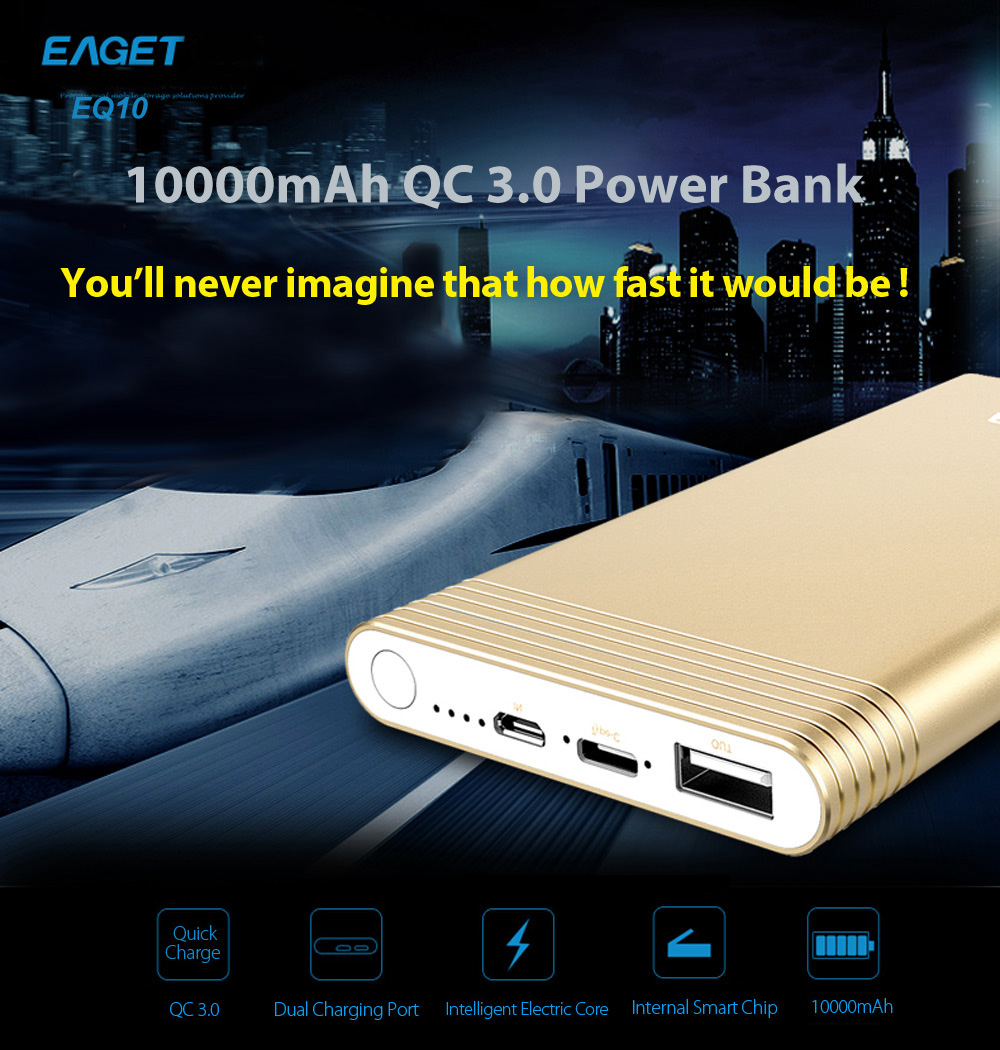 EAGET EQ10 10000mAh QC 3.0 Power Bank with Type-C Input Output Port