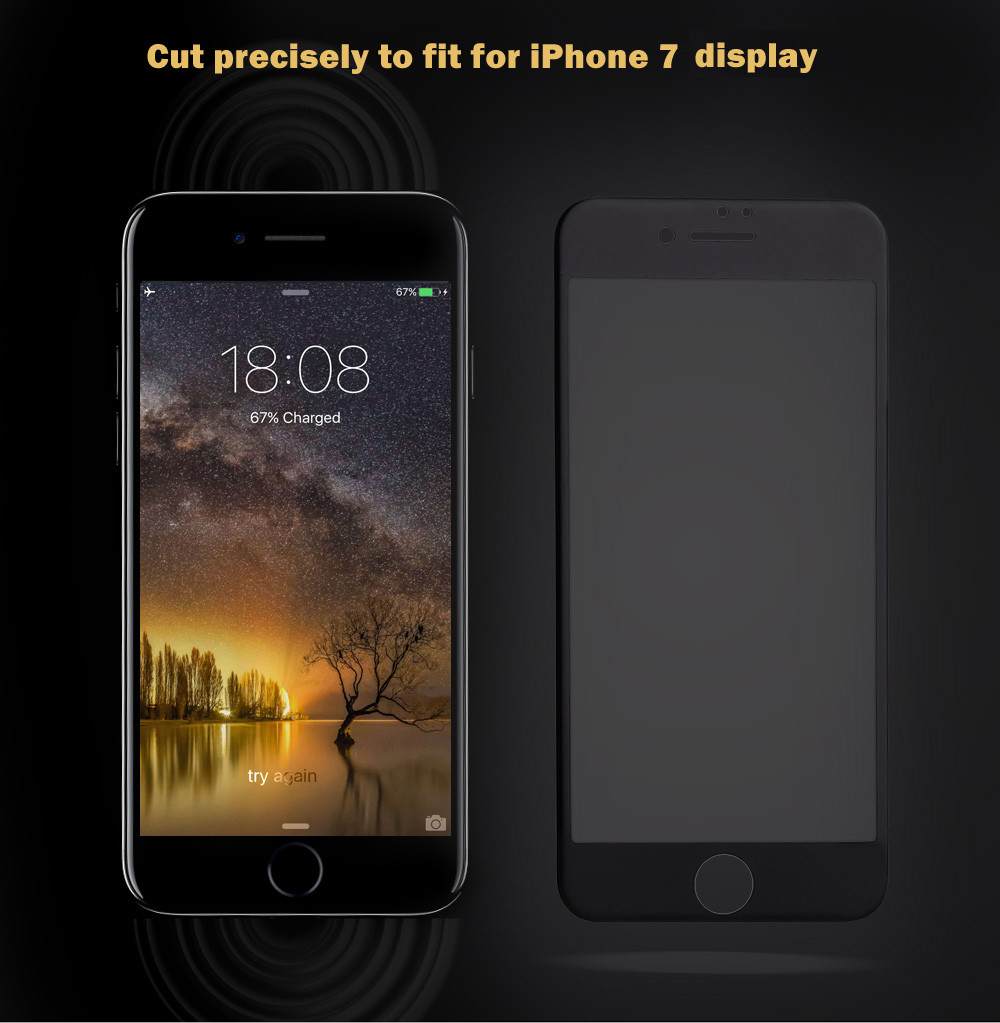 9H 3D Tempered Glass Carbon Fiber Shatterproof Screen Protective Film for iPhone 7 4.7 inch 0.26mm