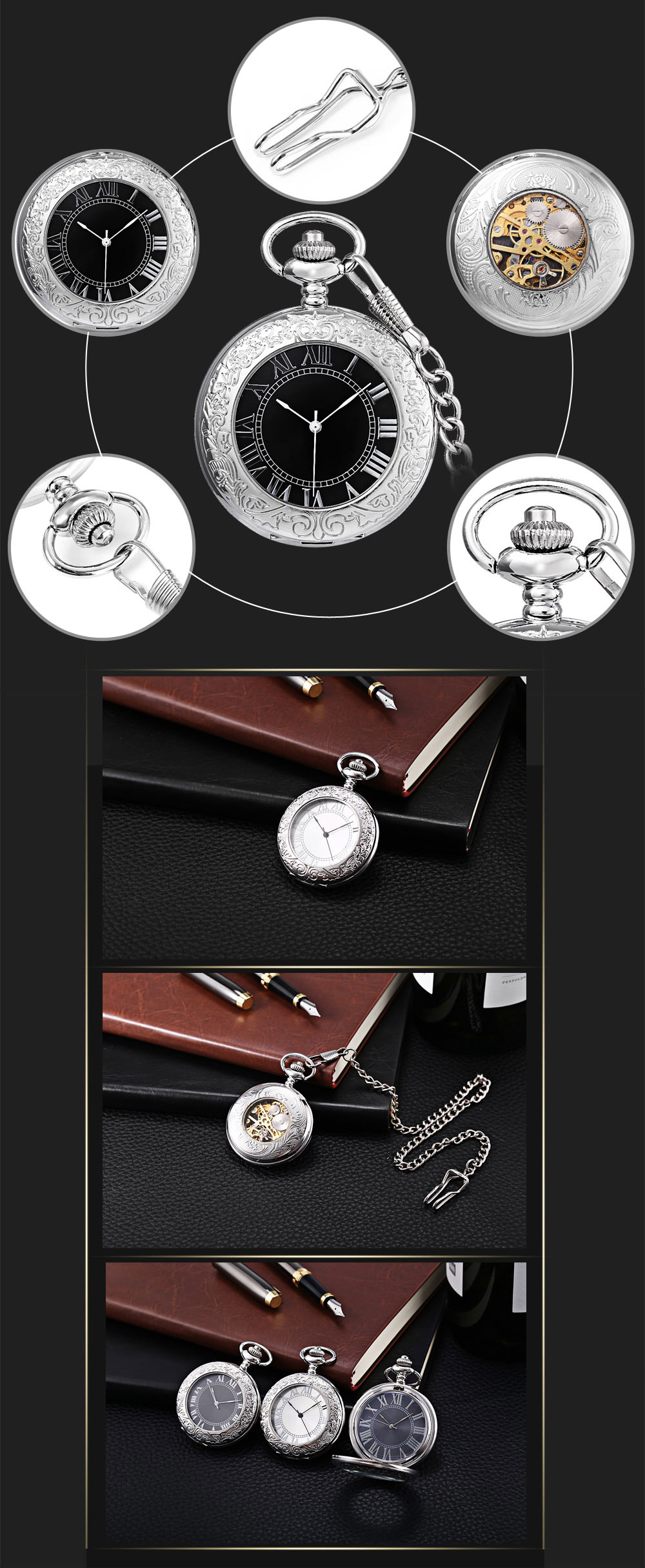 PC31 Retro Mechanical Hand Wind Pocket Watch Transparent Front Cover Necklace Wristwatch