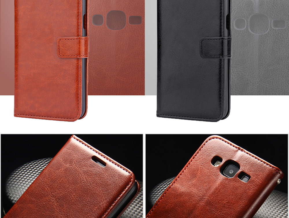 Crazy Horse Series PU Leather Wallet Case with Card Slot for Samsung J5 2015