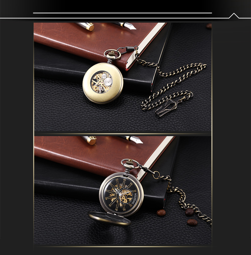 WEIPENG PC4 Retro Mechanical Hand Wind Pocket Watch Transparent Front Cover Necklace Wristwatch