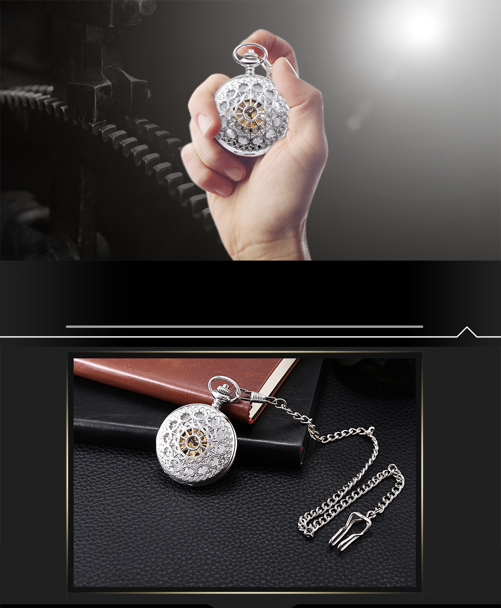 PC5 Vintage Mechanical Hand Wind Pocket Watch Hollow Pattern Front Cover Necklace Wristwatch