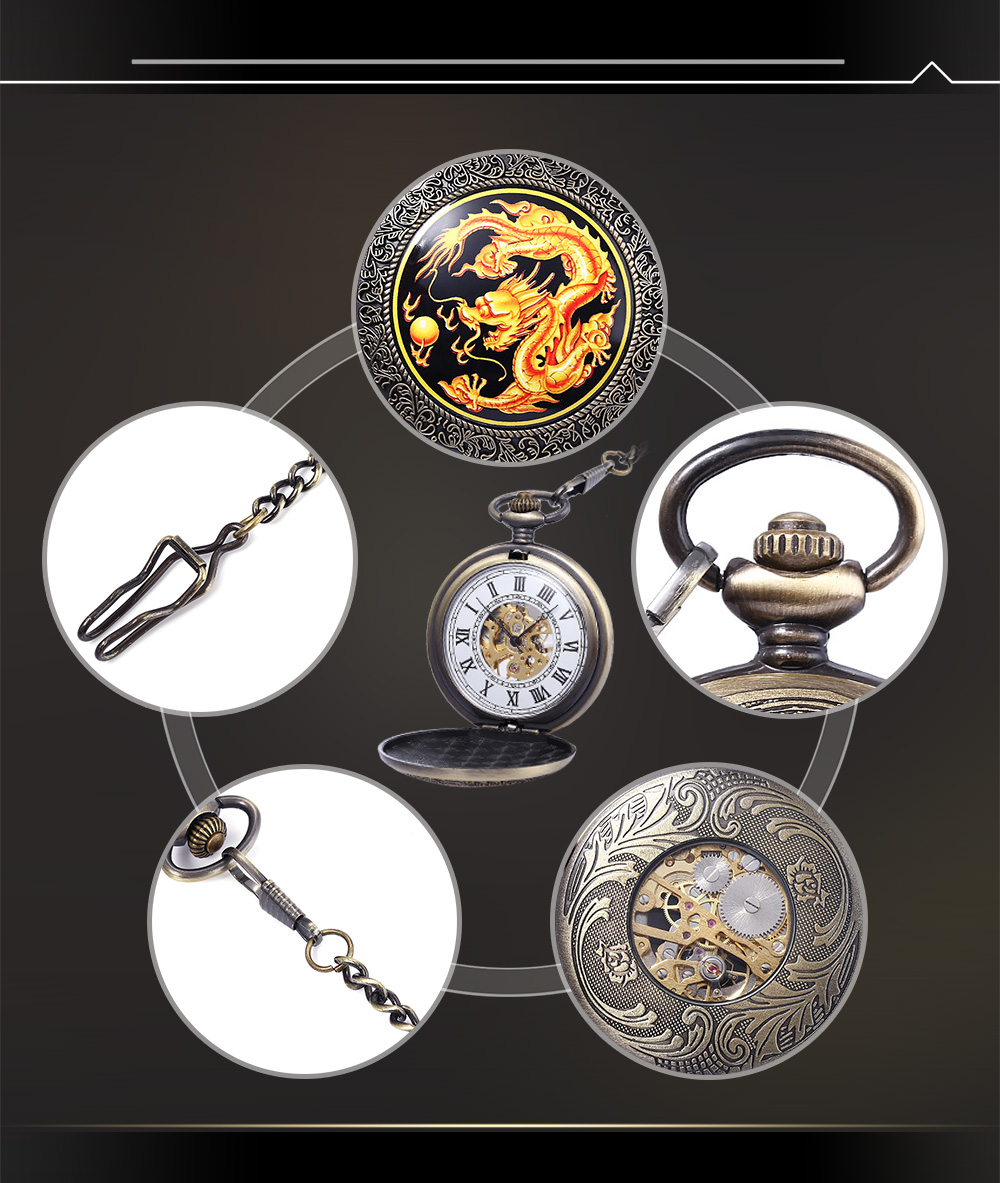 PC39 Vintage Mechanical Hand Wind Pocket Watch Transparent Back Cover Necklace Wristwatch