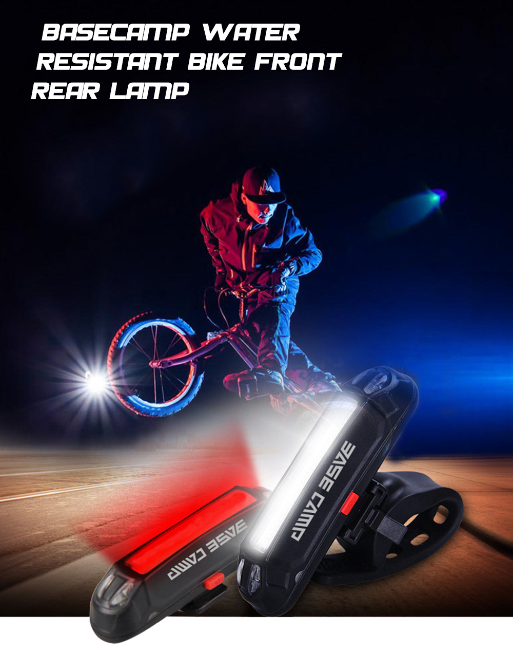BASECAMP BC - 424 Water Resistant USB Rechargeable Bicycle Headlight LED Bike Safety Front Rear Lamp