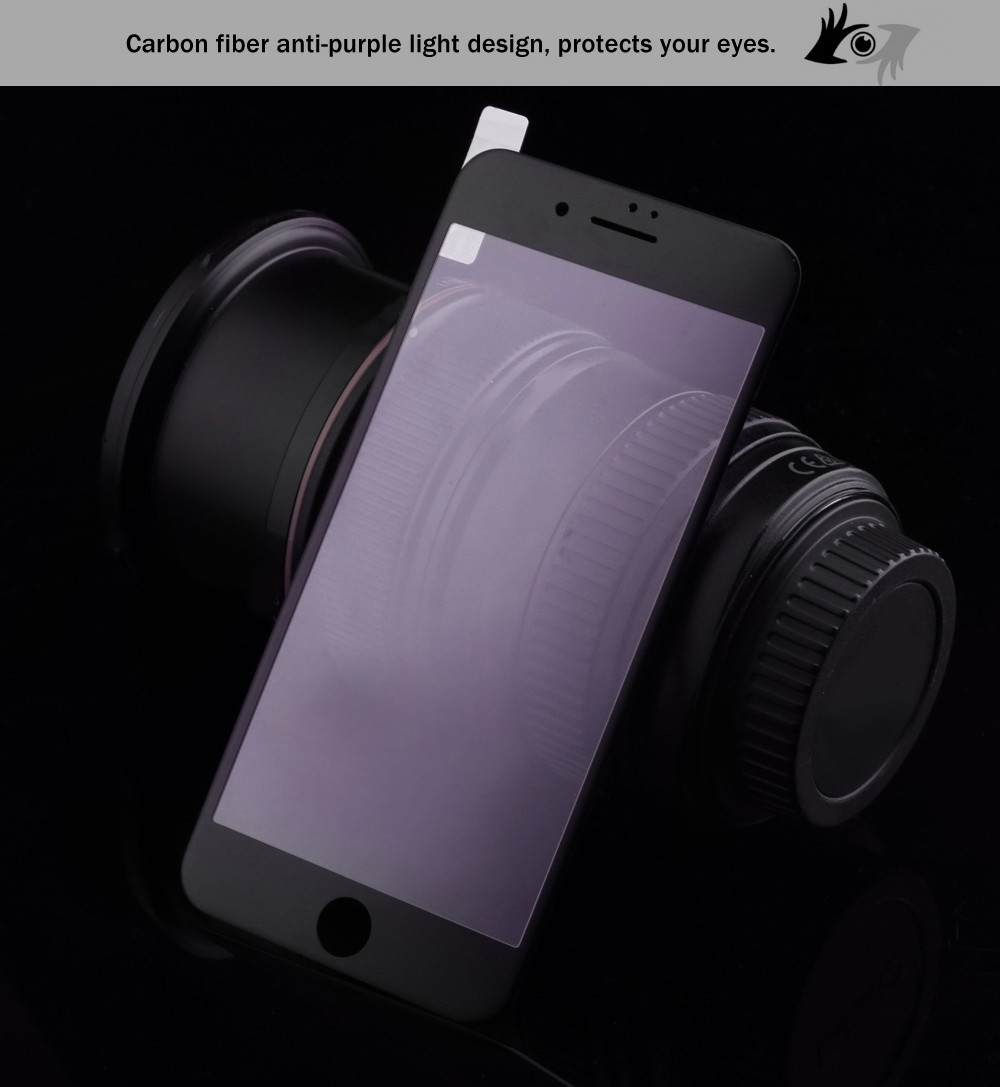 3D Tempered Glass Carbon Fiber Anti-purple Light Shatterproof Screen Protective Film for iPhone 6 Plus / 6S Plus 0.26mm