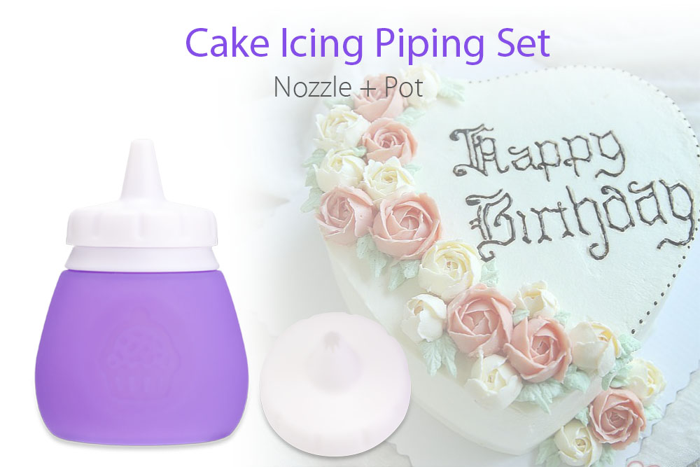 Silicone Cake Icing Piping Pot Nozzle Set Pastry Tool