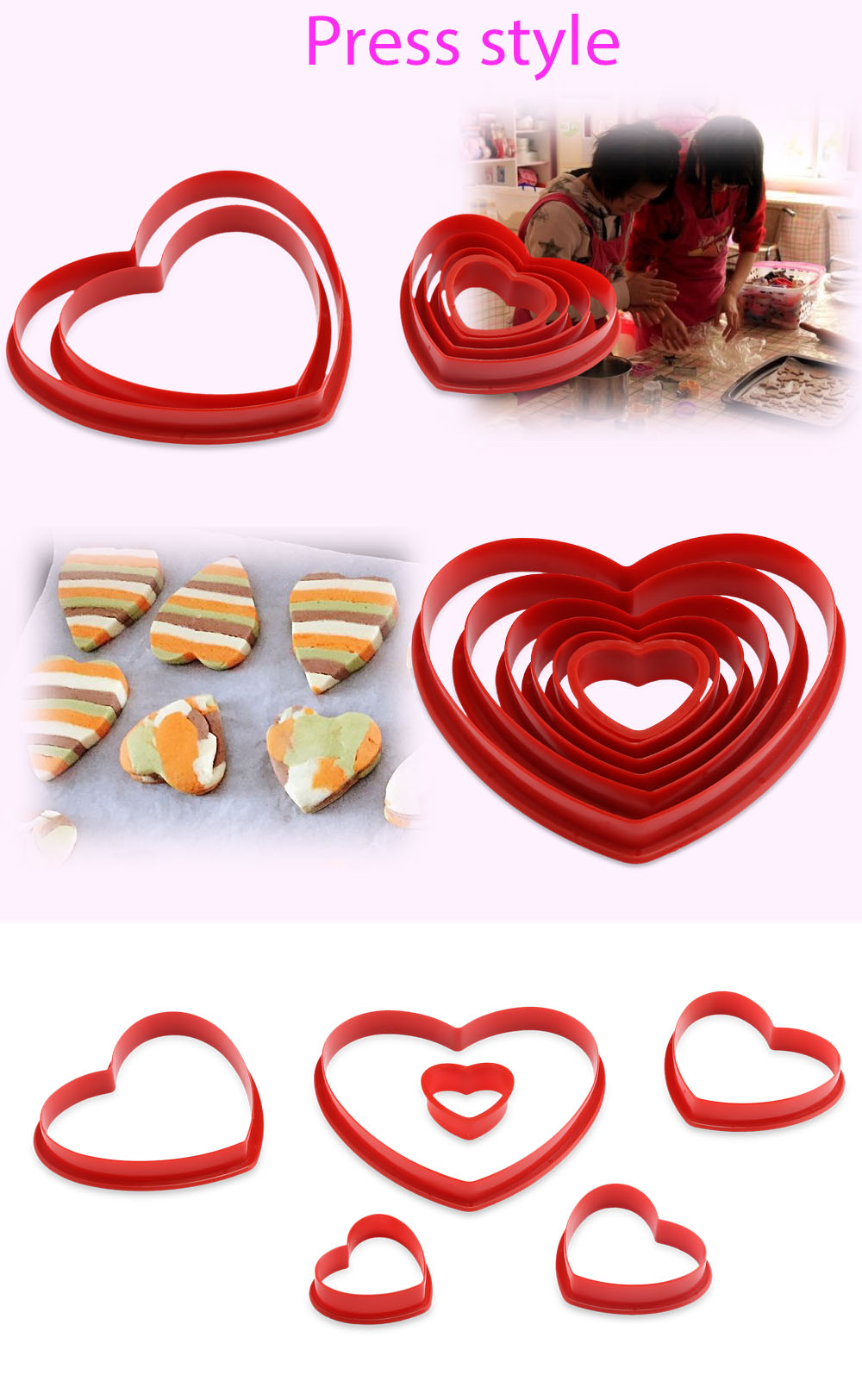 6pcs Heart Shape Fondant Cake Cookie Mold