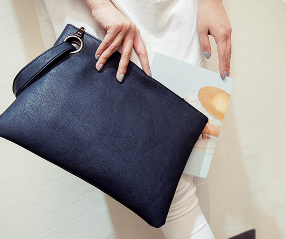 Women Old Classical Solid Color Clutch Envelope Bag