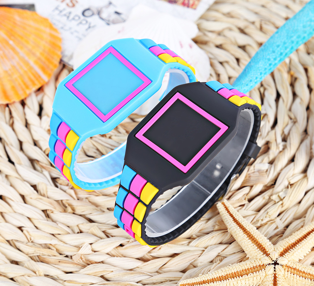LED Children Digital Watch Touch Silicone Band Square Dial Stopwatch Wristwatch