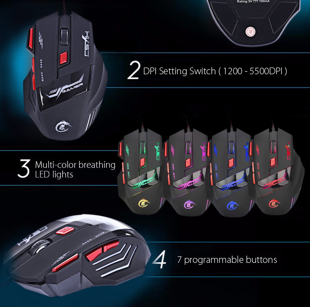 HXSJ H100 5500DPI Wired Optical Game Mouse with LED Light