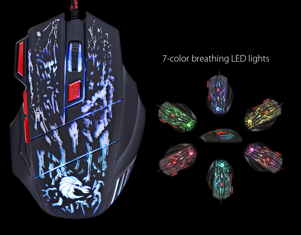 HXSJ H300 Optical 5500DPI 7D USB Pro Gaming Wired Mouse with LED Backlight