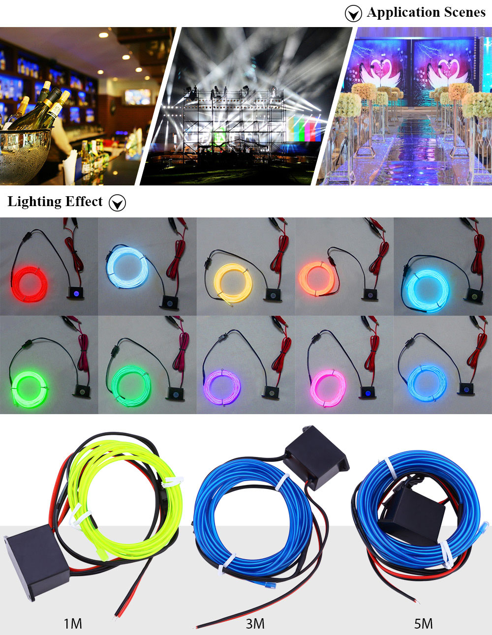 3M Neon EL Wire Glowing String Light Rope Tube Lamp for Home Party
