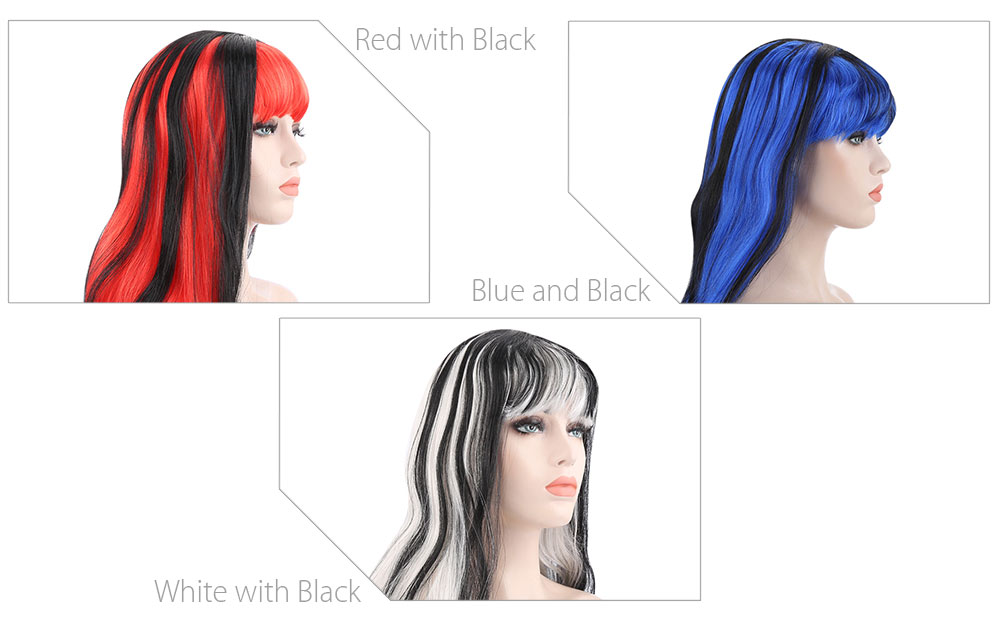 Long Straight Mixed Color Wigs Triangular Bangs for Cosplay Vampire Christmas Halloween