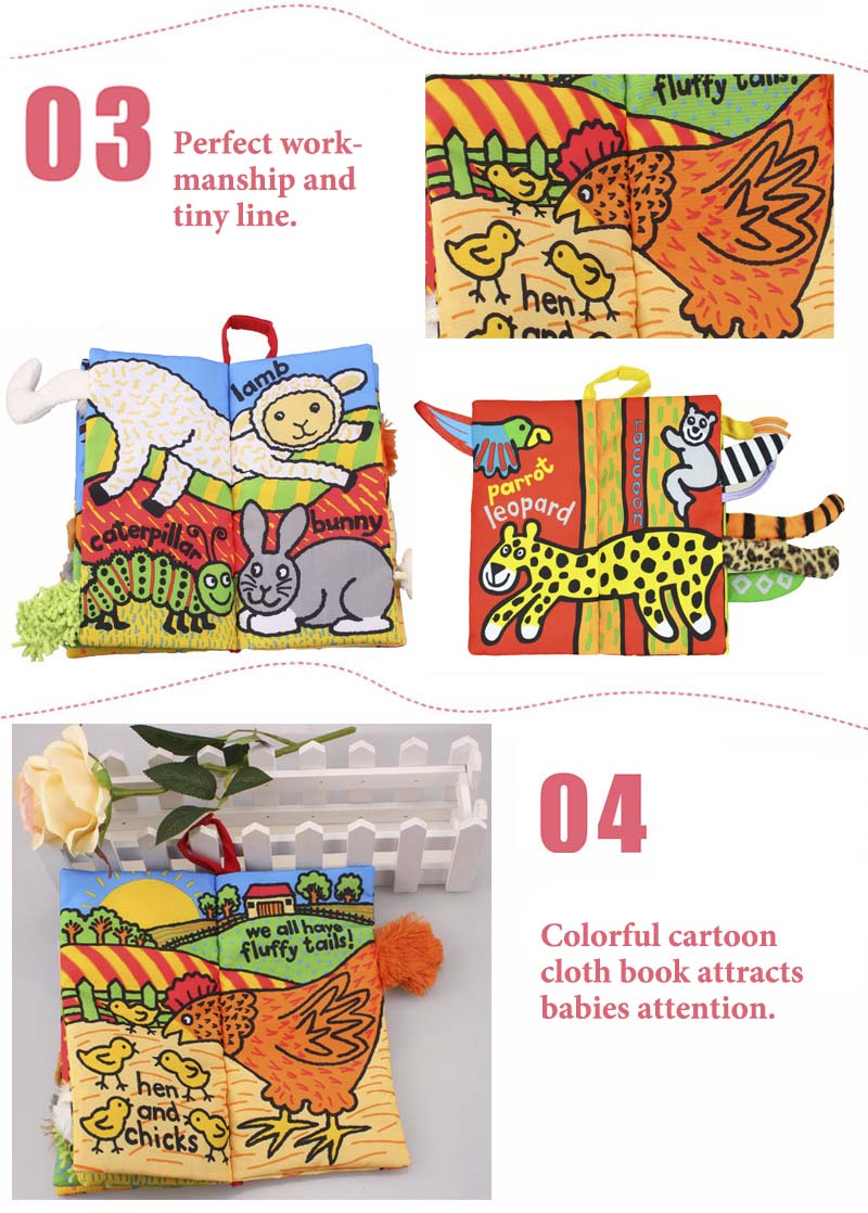 JOLLYBABY 10 Pages Cartoon Print Babies Cloth Book