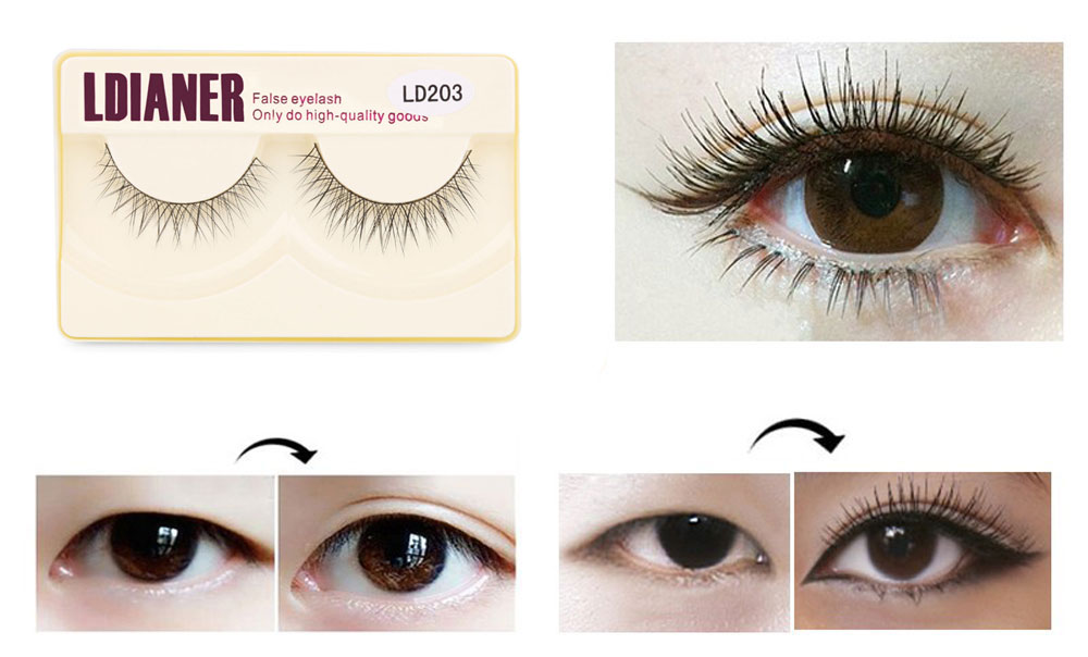 LDIANER Cosmetic Natural Long Cross Makeup Beauty Tools Fake Eyelashes