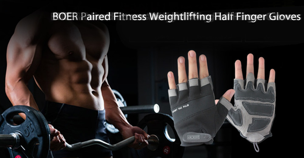 BOER Paired Body Building Fitness Weightlifting Half Finger Gloves for Men