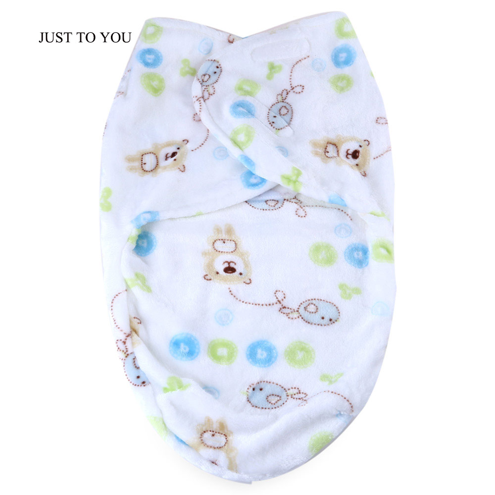 JUST TO YOU Newborn Baby Smooth Soft Blanket Cartoon Animal Print Swaddling Flannel Anti-kick Sleeping Bag