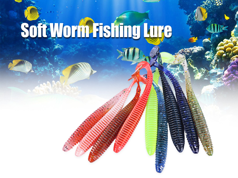 Proberos 10 Color Fishing Lure Soft Worm Fish Bait Tackle