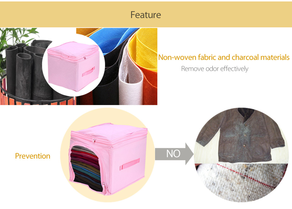 MuHui Cloth Storage Bag 29L Portable Durable Organizer Underbed Pouch Bamboo Charcoal Box