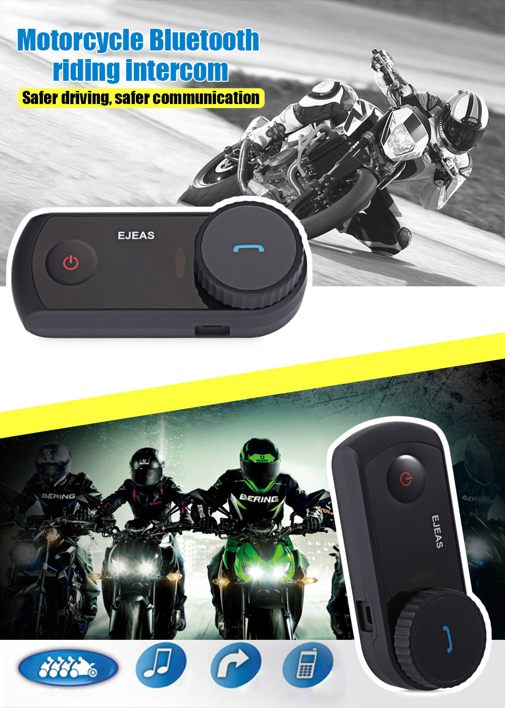 EJEAS - E2 Motorcycle Bluetooth Riding Intercom Two People Full duplex talking Waterproof Inter-phone