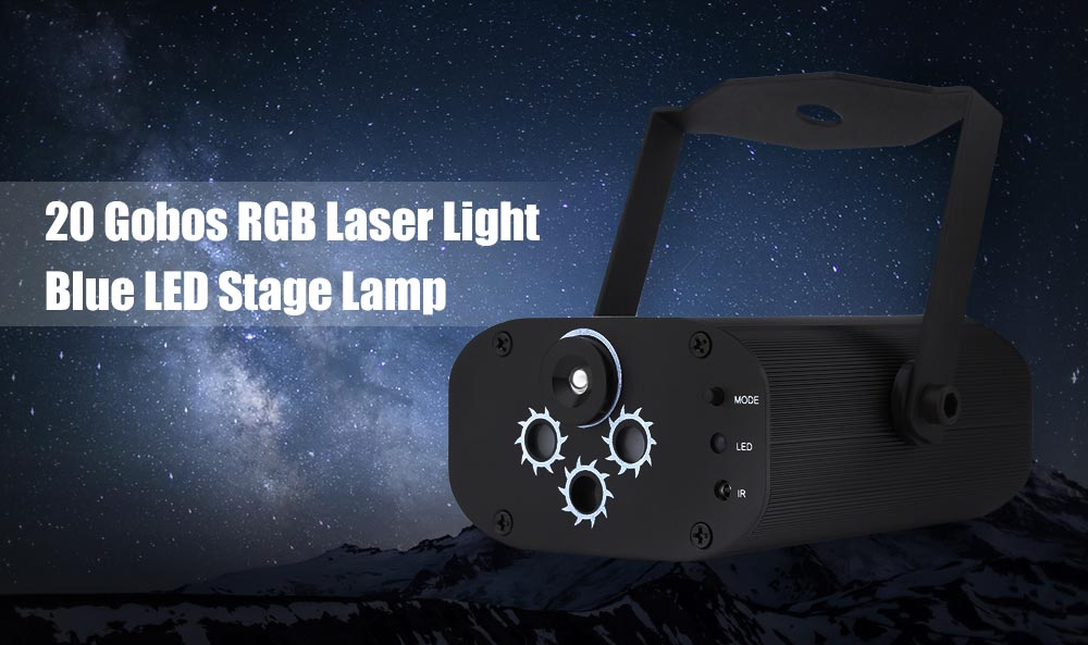 L6320RGB 20 Gobos RGB Laser Light Blue LED Stage Lamp with Remote Control