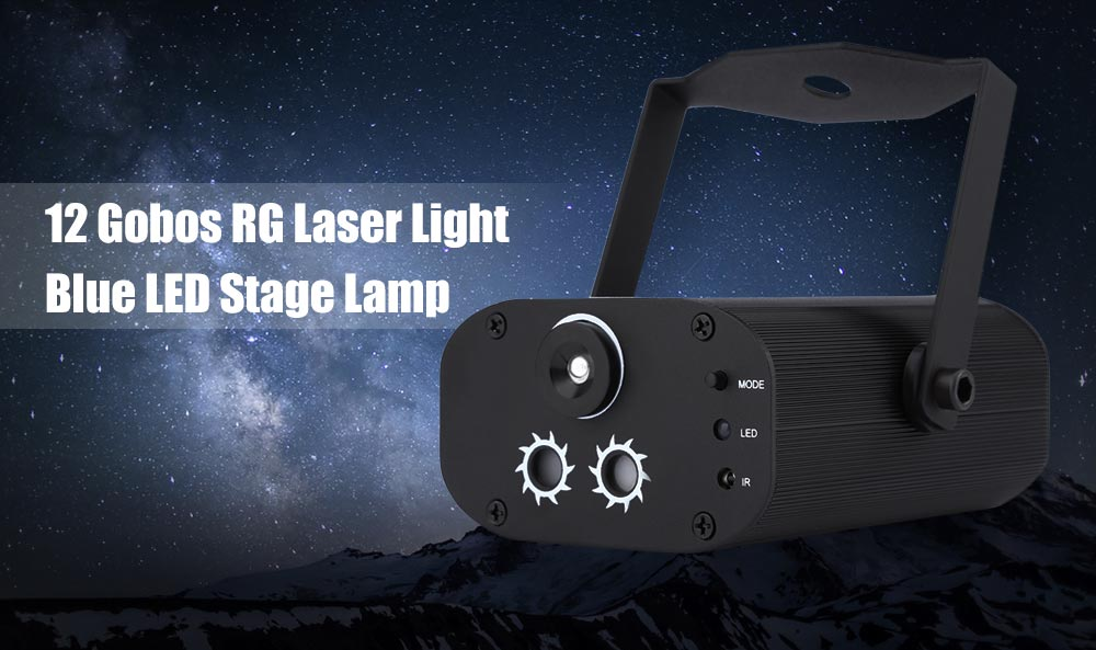 L6212RG Mini 12 Gobos RG Laser Light Blue LED Stage Lamp with Remote Control