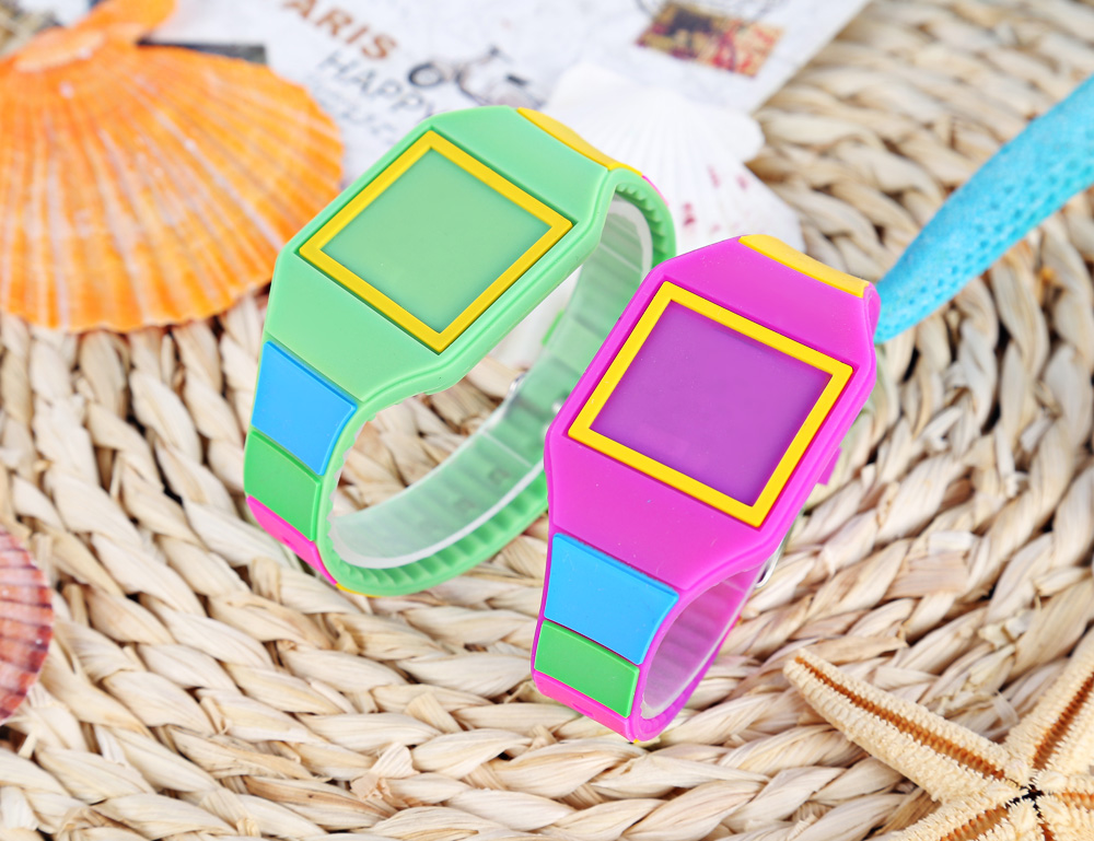 LED Children Digital Watch Square Dial Silicone Band Stopwatch Touch Wristwatch