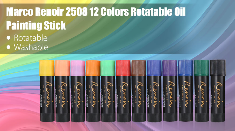 Marco Renoir 2508 12 Colors Rotatable Washable Oil Painting Stick