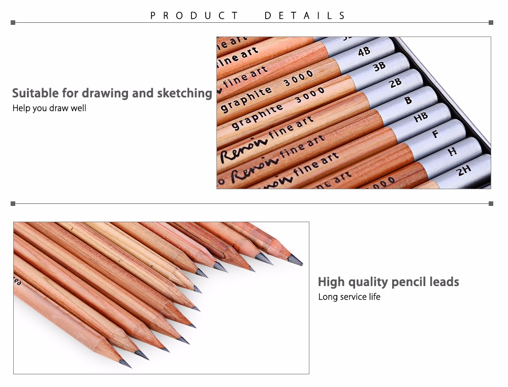 MARCO Renoir 12PCS 3000 - 12TN Sketching Pencil Metal Box Package Wooden Material Natural Color