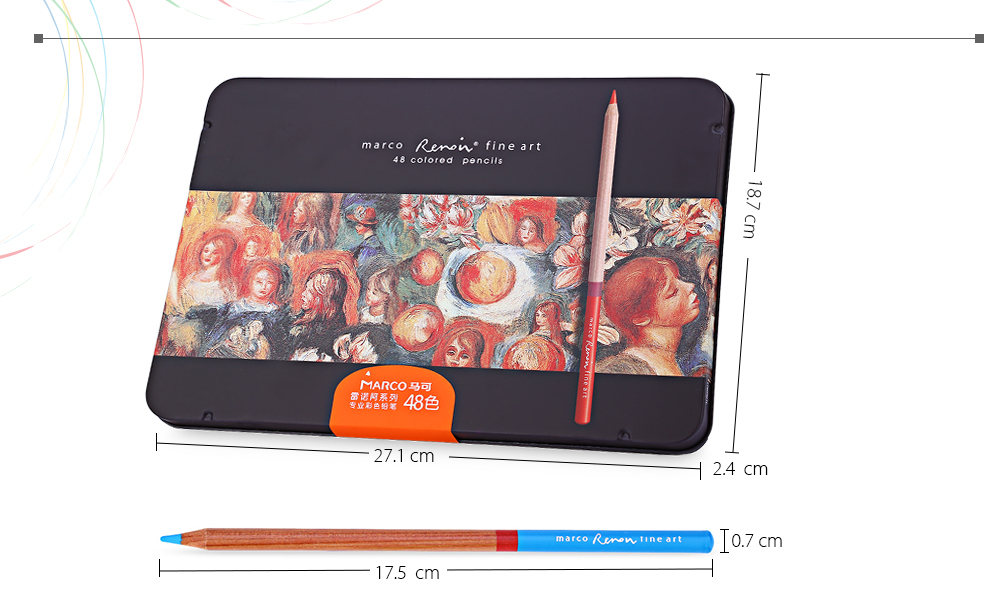 MARCO Renoir 3100 48PCS Colorful Painting Pencil Comfortable Hand Feeling Metal Box Package