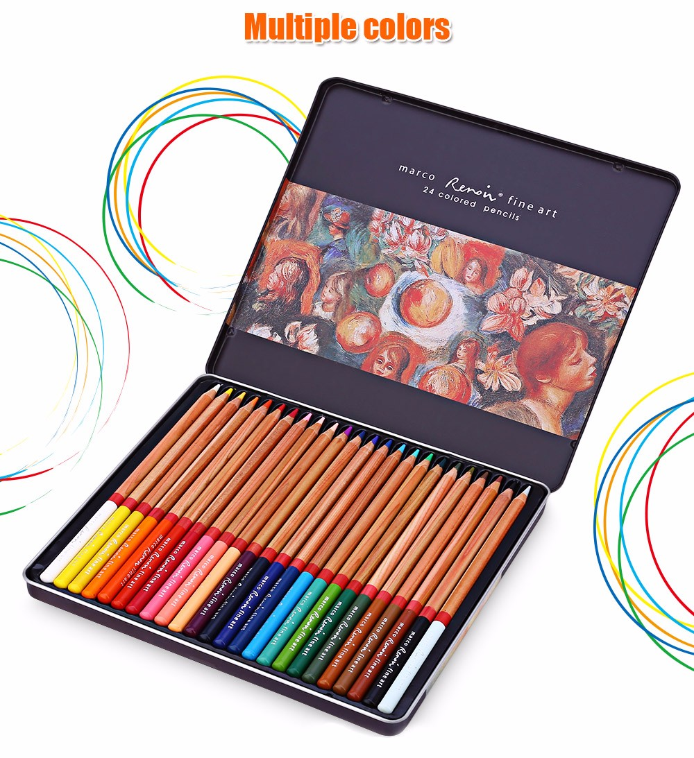 MARCO Renoir 3100 24PCS Colorful Painting Pencil Comfortable Hand Feeling Metal Box Package