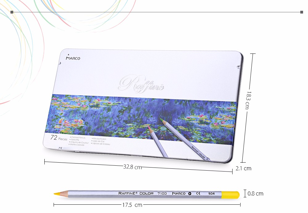 MARCO Raffine 7100 72PCS Colorful Painting Pencil Comfortable Hand Feeling Metal Box Package