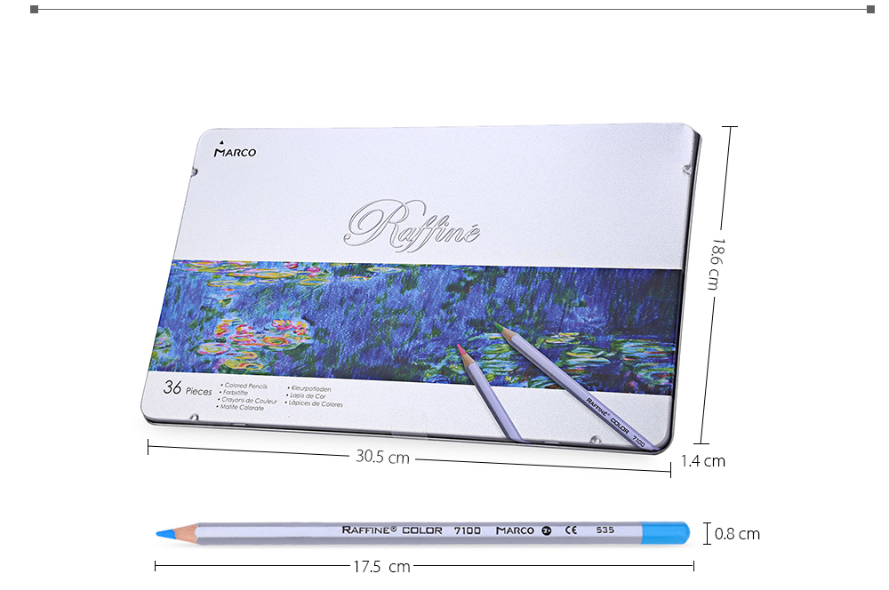 MARCO Raffine 7100 36PCS Colorful Painting Pencil Comfortable Hand Feeling Metal Box Package