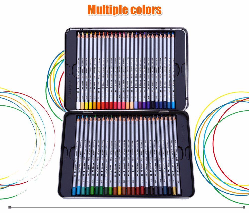 MARCO Raffine 7100 48PCS Colorful Painting Pencil Comfortable Hand Feeling Metal Box Package