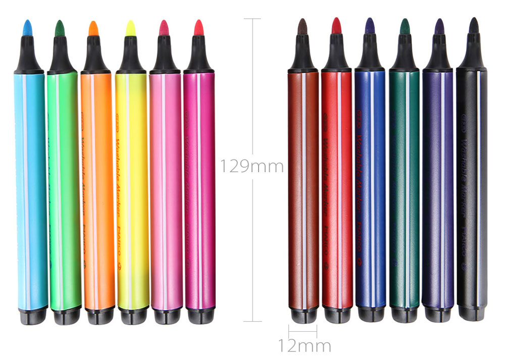 Marco 1232 12 Colors Washable Triangle Pole Water-color Pen Marker