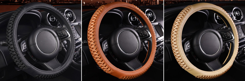 Automobile Steering Wheel Wrap Breathable Handlebar Cover Comfortable Hand Feeling Rhombus Grinding Design