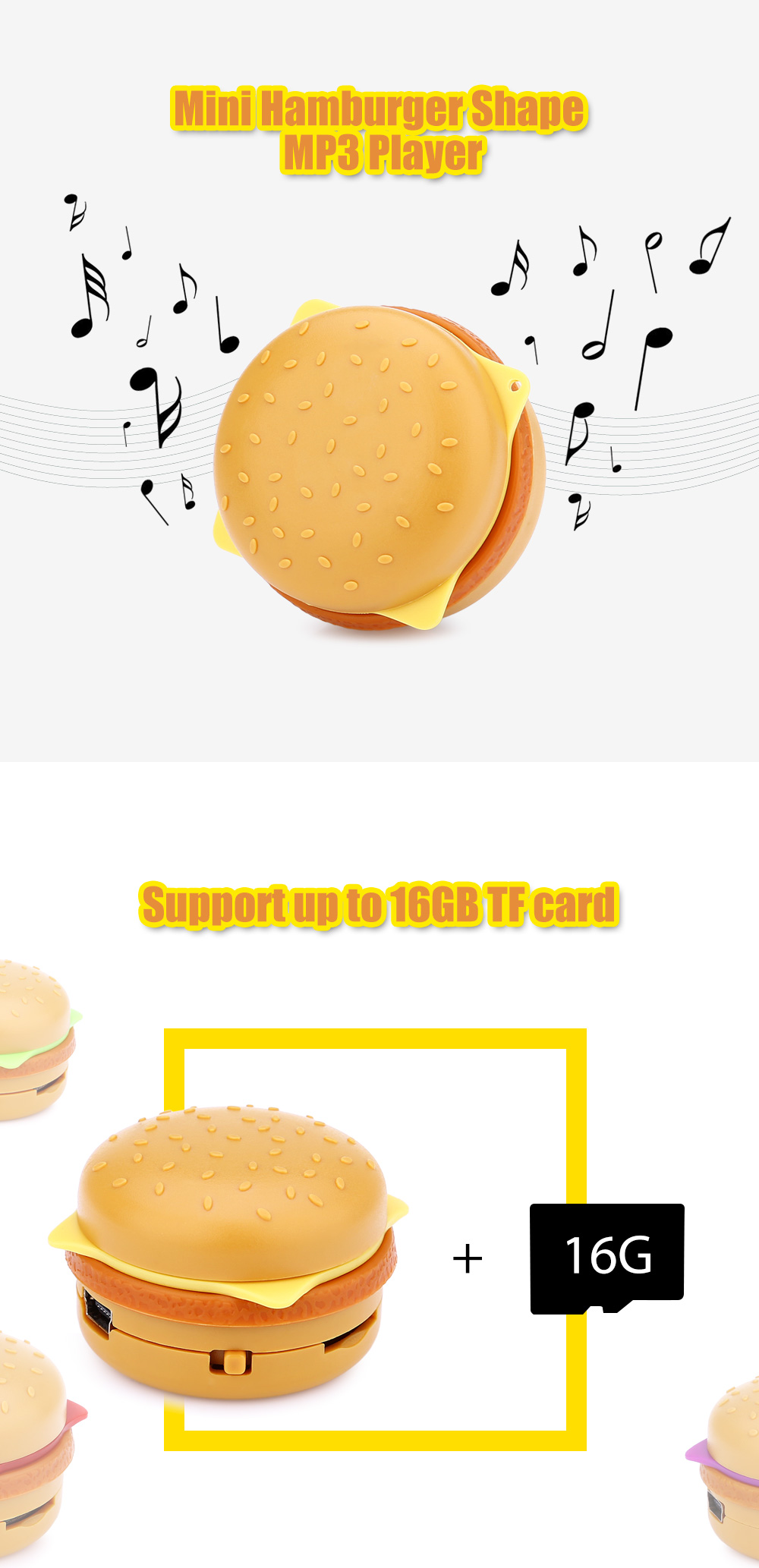 Hamburger Shape Portable Support 16GB TF Card MP3 Music Player