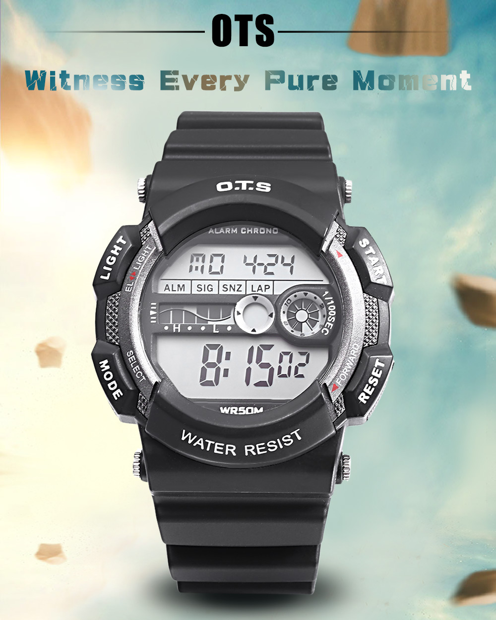 OTS T6900G Children LED Digital Watch Calendar Alarm Chronograph Display Sports Wristwatch