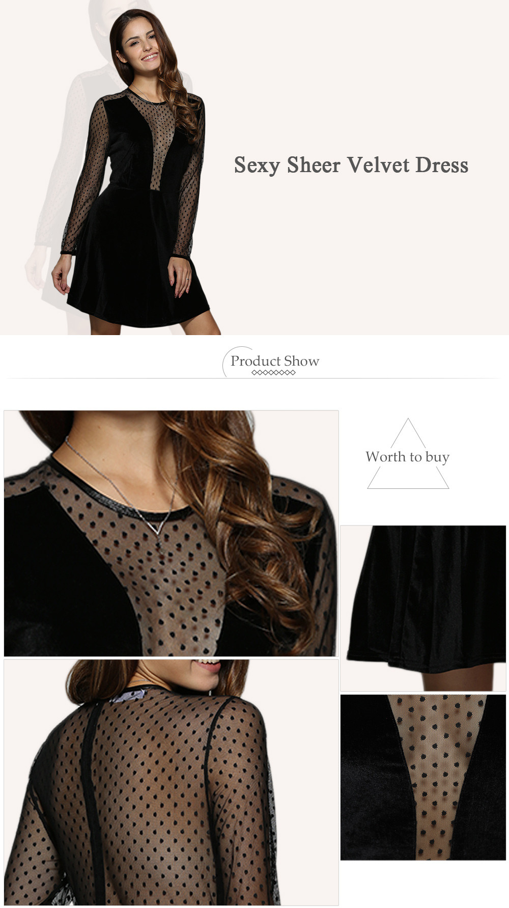 Sexy Round Collar Sheer Spliced A-Line Women Velvet Dress