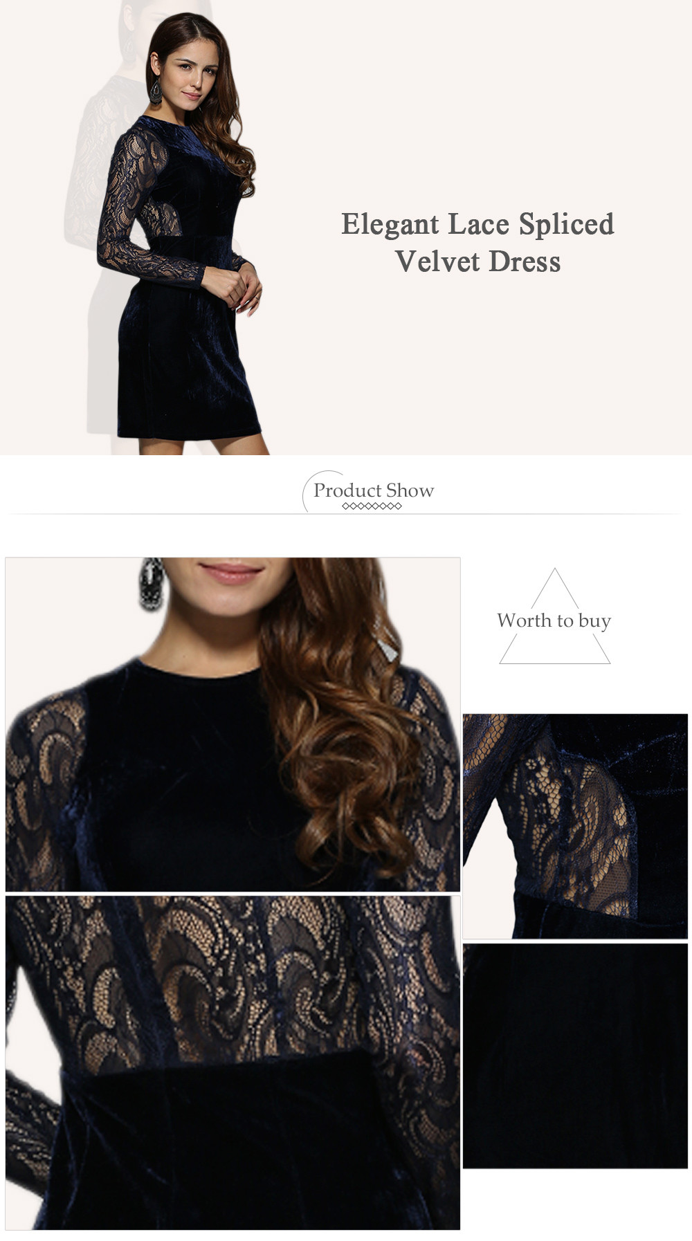 Elegant Round Collar Lace Spliced Sheath Women Velvet Dress